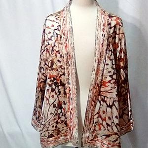 Chico's Size 3 open front silk kimono jacket